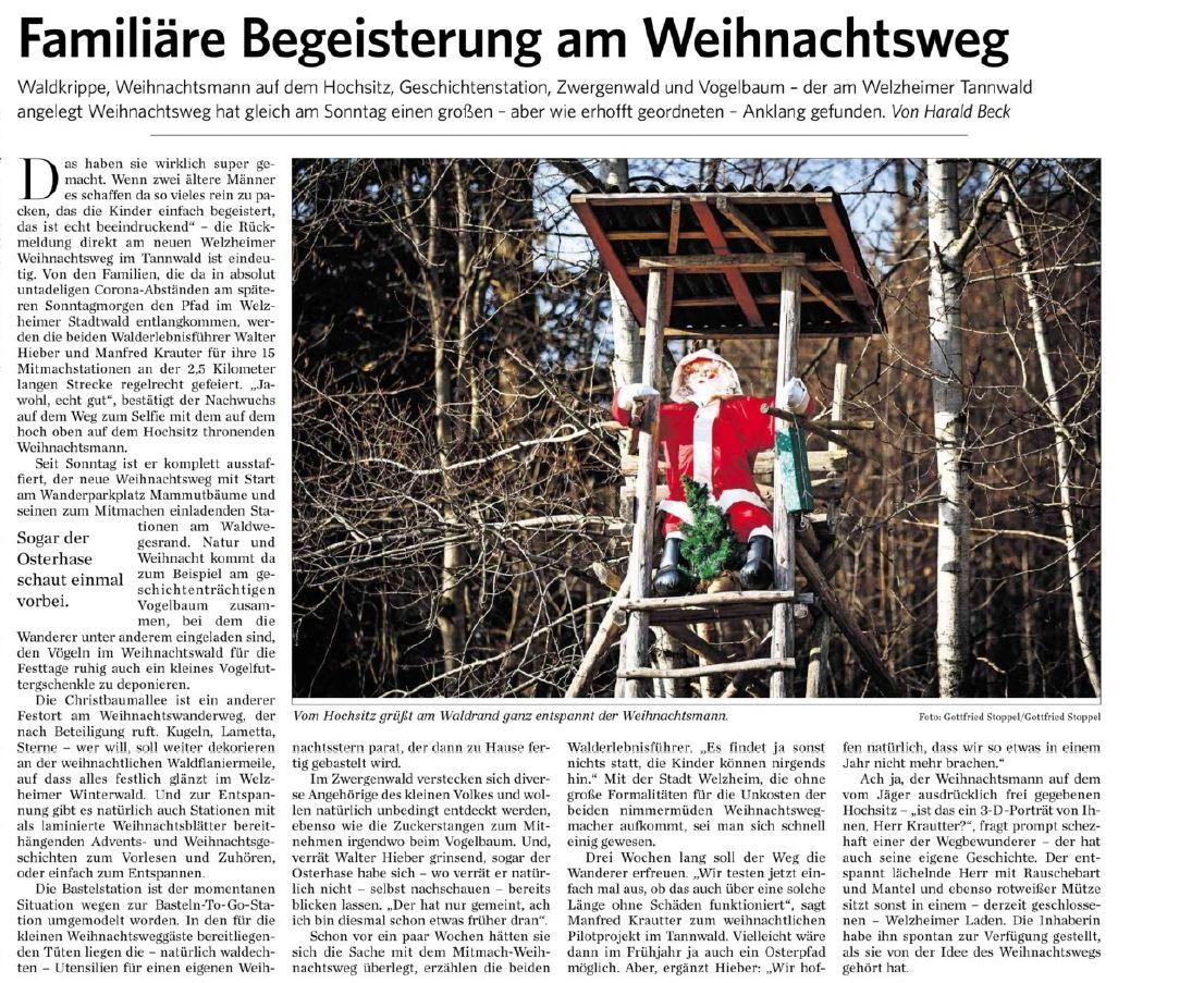 Familiäre Begeisterung am Weihnachtsweg - Naturparkführer Schwäbisch-Fränkischer Wald e.V.