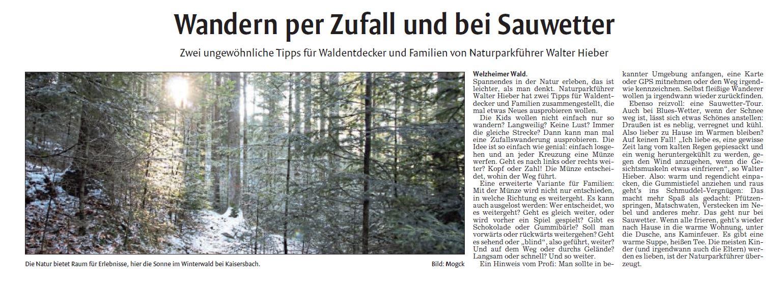 Wandern per Zufall und bei Sauwetter - Naturparkführer Schwäbisch-Fränkischer Wald e.V.
