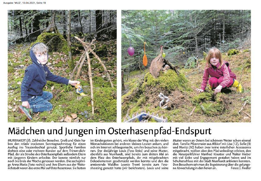 Mädchen und Jungen im Osterhasenpfad-Endspurt - Naturparkführer Schwäbisch-Fränkischer Wald e.V.